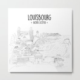 Louisbourg Nova Scotia, Illustrated Metal Print