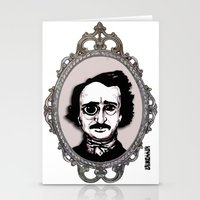 edgar allan poe Stationery Cards featuring Edgar Allan Poe by Michael J.