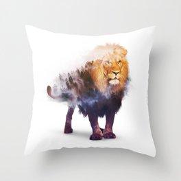 Lion Double exposure art Throw Pillow