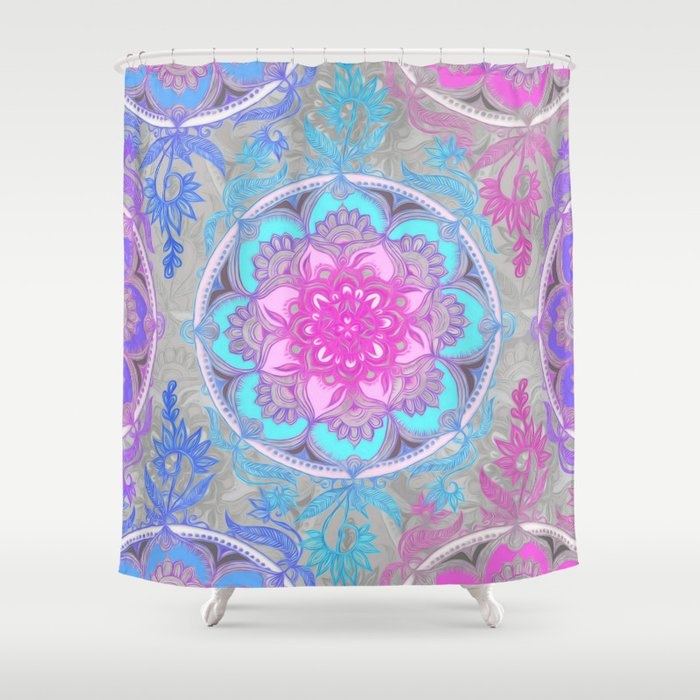 Pink Purple And Turquoise Super Boho Doodle Medallions Shower Curtain By Micklyn