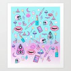 Girly Pastel Goth Witch Pattern Art Print