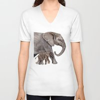 elephants V-neck T-shirts featuring Elephants by Goosi