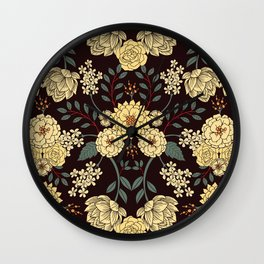 Teal, Cream, Red, Orange & Brown Flowers - Pretty Floral Pattern Wall Clock
