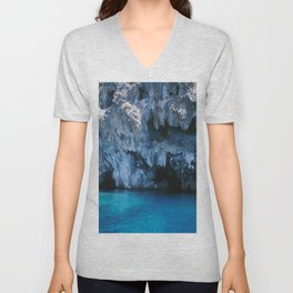 NATURE'S WONDER #3 - BLUE GROTTO #art #society6 Unisex V-Neck