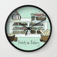british Wall Clocks featuring British Bakery by Hayley Bowerman Design