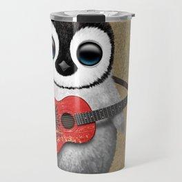 Baby Penguin Playing Albanian Flag Guitar Travel Mug