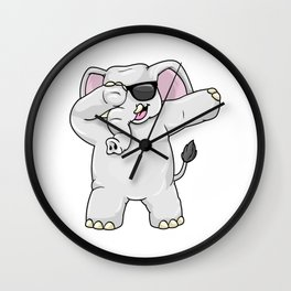 Elephant with Sunglasses at Hip Hop Dance Dab Wall Clock