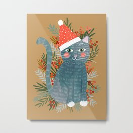 Blue Cat cute christmas xmas tree holiday funny cat art cat lady gift unique pet gifts Metal Print