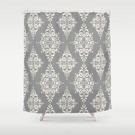 Modern Floral Damask Pattern – Neutral Medium Gray and Light Beige Shower Curtain