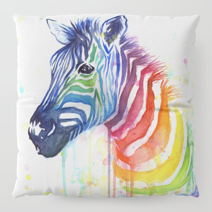 Zebra Watercolor Rainbow Animal Painting Ode to Fruit Stripes Floor ...