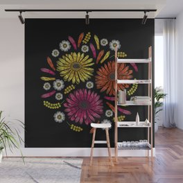 Embroidered Flowers on Black Circle 14 Wall Mural