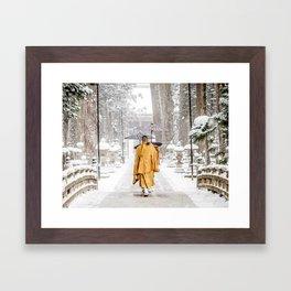 Japanese Buddhist Monks in Winter Framed Art Print