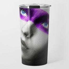 Black and white painting - Girl in Purple Mask - Jeanpaul Ferro Travel Mug
