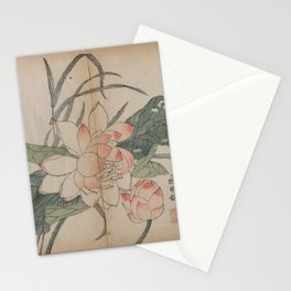 Qing Dynasty Chinese Woodblock Print - Flowering Lotus and Bud Stationery Cards