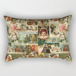 Vintage Victorian Christmas Collage Rectangular Pillow