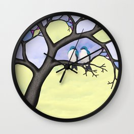 tree swallows in the stained glass tree Wall Clock