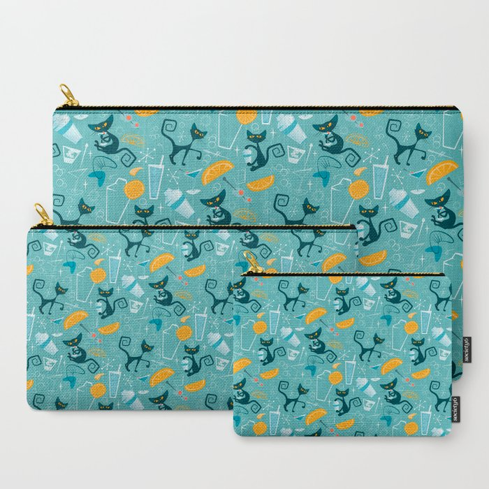 Mid century modern atomic style cats and cocktails Carry-All Pouch