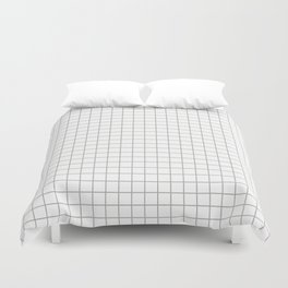 Minimalist Window Pane Grid, Gray on White Duvet Cover