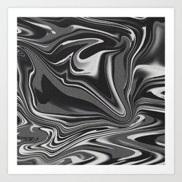 noisy black and white glitch Art Print