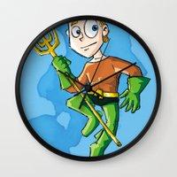 aquaman Wall Clocks featuring Aquaman! by neicosta