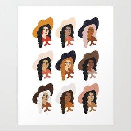 Multi Culture Cowgirl Art Print