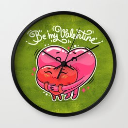 Hugging Valentine Hearts Wall Clock