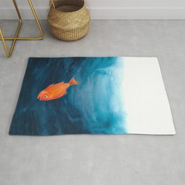 A lonely red fish in the deep sea Rug