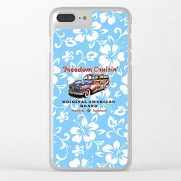 Freedom Crusin' Hawaiian Woody Design - blue colorway Clear iPhone Case