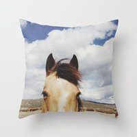 horse Throw Pillows featuring Cloudy Horse Head by Kevin Russ