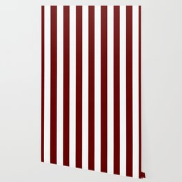 Blood red - solid color - white vertical lines pattern Wallpaper