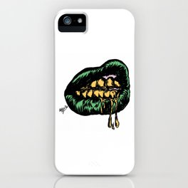 Green Lips and gold drips. iPhone Case
