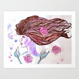 Woman of the Roses Art Print