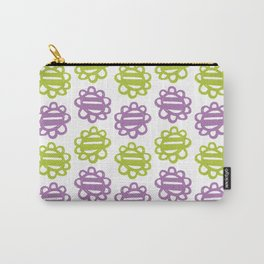 Fun Flowers purple green Carry-All Pouch