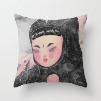 loll3 Throw Pillows featuring CuteZilla by lOll3