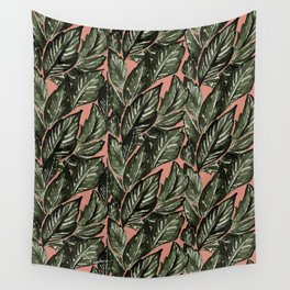Feathery Leaves - Burnt Orange Olive Wall Tapestry