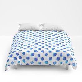 Watercolor Tie Dye Dots in Indigo Blue Comforters