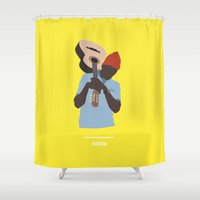 the life aquatic Shower Curtains featuring ZISSOU ( The Life Aquatic ) by COMME UNE AFFICHE AU MUR