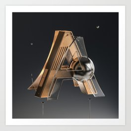 Abstract Bending Typo A Art Print