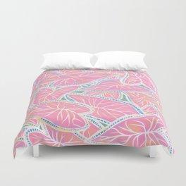 Tropical Caladium Leaves Pattern - Pink Duvet Cover