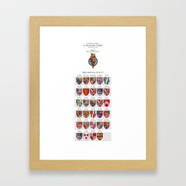KING JAMES I - Roll of arms of the Knights of the Garter installed during his reign Framed Art Print