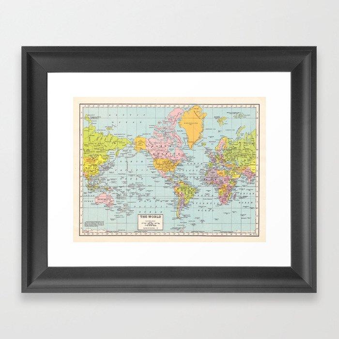 World Map Gerahmter Kunstdruck
