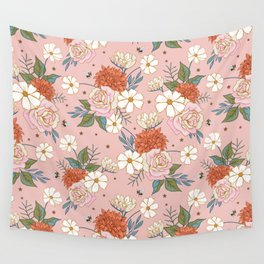 Retro Rose Garden on Coral Pink Wall Tapestry