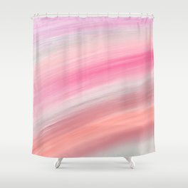 Girly aurora pink coral abstract brushstrokes Shower Curtain