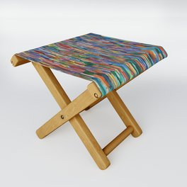 Bright Colorful Abstract Art with Red, Blue, Green, Purple, Yellow, Multicolor Striped Lines Folding Stool