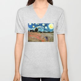 Monet's Poppies with Van Gogh's Starry Night Sky Unisex V-Neck