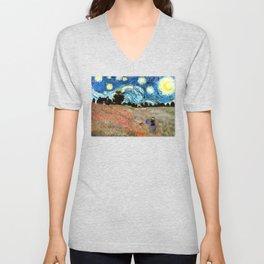 Monet's Poppies with Van Gogh's Starry Night Sky Unisex V-Neck