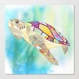 Rainbow Patchwork Turtle Canvas Print