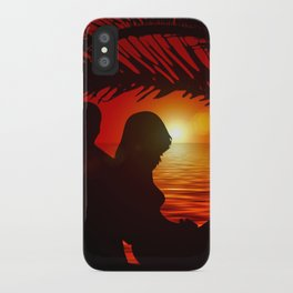 Silhouette Pair Sunset Tree Longing Love iPhone Case