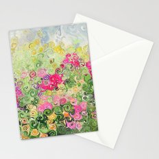 Dreamy Confetti Flower Basket Bouquet -- Whimsical Painterly Abstract Stationery Cards