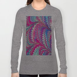 Psychedelic Swirls Neon Pink Teal Summer Pattern Long Sleeve T-shirt